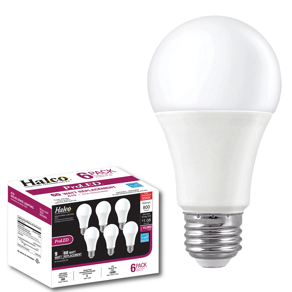 A19FR9/830/ECO/LED/6 82069 A19 ECO 6-PACK 9W 3000K NON-DIMMABLE ProLED