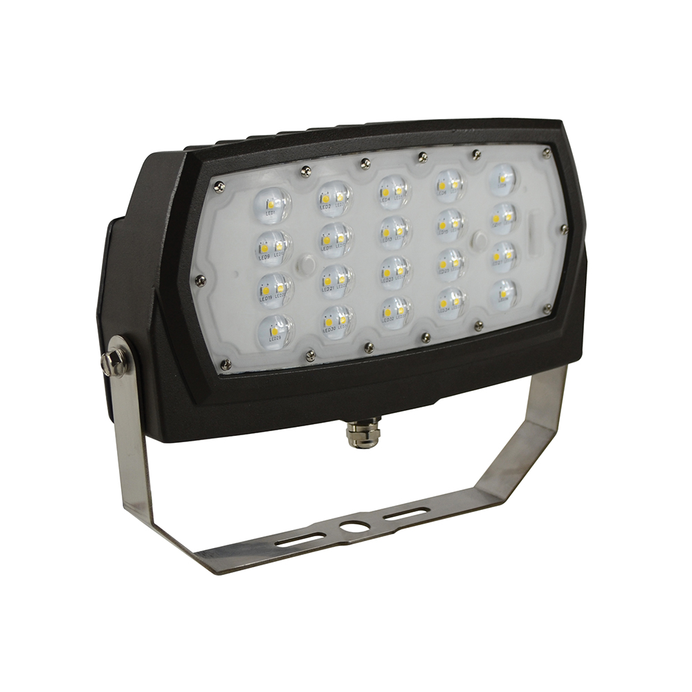 FL2/CL28BZ50/YK/LED 99878 LED MEDIUM FLOOD 120-277V, 28W, 5000K, DIMMABLE, BRONZE, YOKE MOUNT