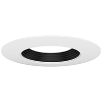 "DL6/WB 99930 6"" WHITE TRIM-BLACK STEPPED BAFFLE"