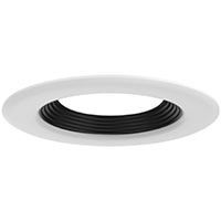 "DL4/WB 99934 4"" WHITE TRIM-BLACK STEPPED BAFFLE"