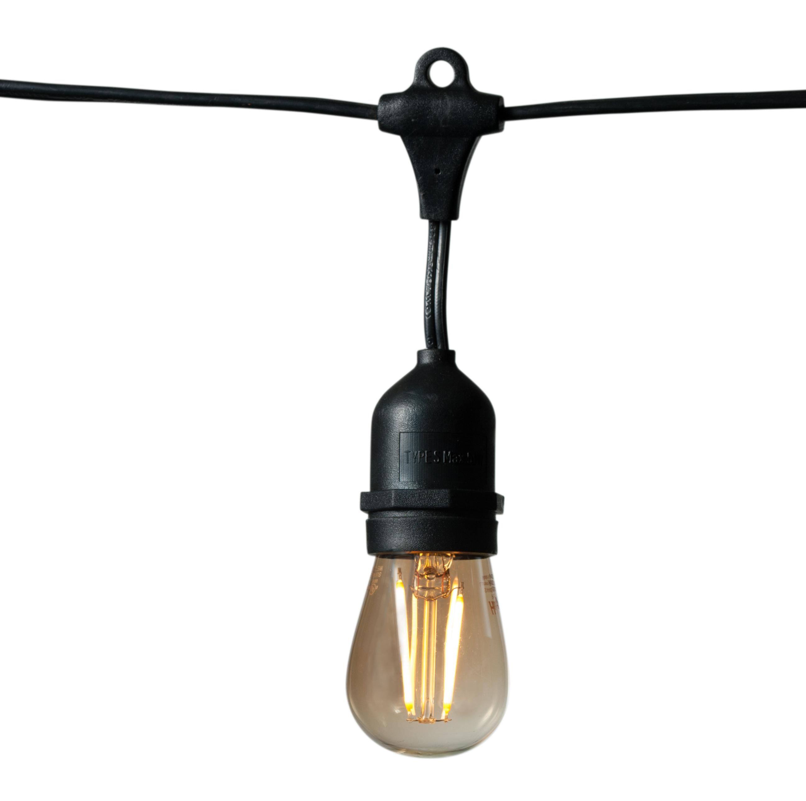 DSL/26124M/2G-BK 99603 Decorative Strand Lighting 26ft long, (12) E26 sockets, 4in drops, 2-wire with 8A fuse